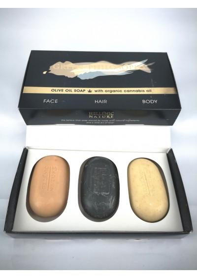 Hellenic Nature Griekse extra virgin olijfolie zeep met biologische cannabis olie face,body, hair 390 gr.