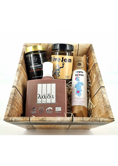 Pink Ribbon Ladi Biosas Griekse olijfolie, Eva's Walk biologische honing, Vegan salami, olijf jam van greek artisans 1000gr
