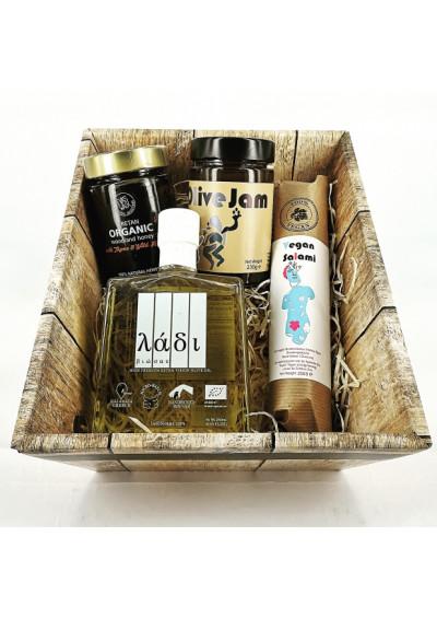 Griekse biologische olijfolie Ladi Biosas, vegan salami(gedroogde vijgen met sinaasappelschil), Eva's Walk biologische honing en olijf jam van Greek Artisans 1000gr.